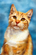 Michelle Wrighton Posters - Sweet William Orange Tabby Cat Painting Poster by Michelle Wrighton