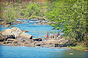 Saluda Photos - Swimming in the Saluda by Linda Brown