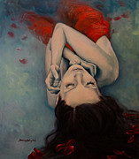 Red Roses Prints - Swinging in Red Print by Dorina  Costras