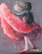 Red Dress Pastels - Swirling Swirls by Rachael Curry