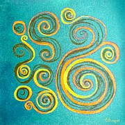 Rotate Painting Posters - Swirls On Blue Poster by Barbara Moignard