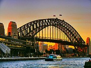 Sydney Photographs Framed Prints - Sydney Sunset Framed Print by Peter Evans