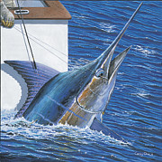Black Marlin Framed Prints - Tagged Off00105 Framed Print by Carey Chen