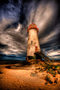 White  Digital Art Posters - Talacre Lighthouse Poster by Adrian Evans