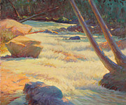 Western Pencil Drawings Prints - Taos Mountain Rapids Print by Ernest Principato