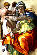 Souls Drawings Framed Prints - Tattooed Delphic Sibyl Framed Print by Nick Sinclair