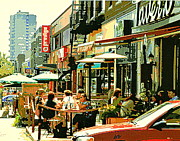 Cafescenes Prints - Tavern In The Village Urban Cafe Scene - A Cool Terrace Oasis On A Busy Hot Montreal City Street Print by Carole Spandau