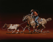 Heeler Paintings - Team Roping by Hugh Blanding