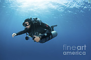 Technical Prints - Technical Diver With Equipment Swimming Print by Karen Doody