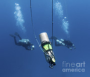 Oxygen Tank Framed Prints - Technical Divers Ascend Near A Nitrox Framed Print by Karen Doody