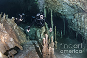 Technical Prints - Technical Divers In Dreamgate Cave Print by Karen Doody