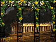 Sicily Digital Art Posters - Temple of Neptune - Italy Poster by Michael Rucker