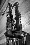 Saxophones Framed Prints - Tenor Saxophone Black and White Vertical Framed Print by Photographic Arts And Design Studio
