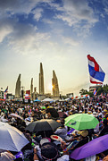 Instability Framed Prints - Thailands protest at Democracy Monument against the government  Framed Print by Anek Suwannaphoom