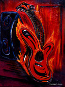 Guitar Strings Painting Originals - Thank you and good night by KWC Art