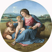 Christ Child Posters - The Alba Madonna Poster by Raffaello Sanzio of Urbino