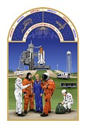 Astronomical Clock Framed Prints - The Astronauts Book of Hours - The Space Shuttle Framed Print by Tharsis  Artworks