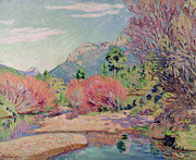 Sedelle Framed Prints - The Banks of the Sedelle at Crozant Framed Print by Jean Baptiste Armand Guillaumin
