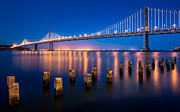 Blue Hour Framed Prints - The Bay Lights Framed Print by Alexis Birkill