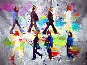 Paul Mccartney Portrait Paintings - The Beatles Grunge by Daniel Janda