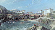 Beach Hut Posters - The Beginning of Sea Swimming in the Old Port of Biarritz  Poster by Jean Jacques Alban de Lesgallery