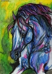 Wild Horses Drawings Metal Prints - The Blue Horse On Green Background Metal Print by Angel  Tarantella