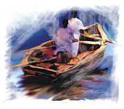 Haiti Digital Art Prints - The  Boatmen Print by Bob Salo