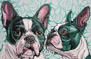 Boston Terrier Art Paintings - The Boys from Boston by Erlinde Ufkes Stephanus
