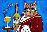 Red Wine Bottle Mixed Media Prints - The Cat Butler Print by Cynthia Snyder