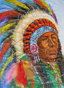 Canadian Indian Art Paintings - The Chief by Mohamed Hirji