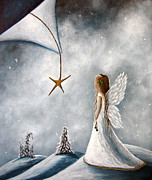 Angel Painting Metal Prints - The Christmas Star by Shawna Erback Metal Print by Shawna Erback