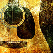 Guitars Mixed Media - The Edgy Abstract Guitar Square by Andee Photography
