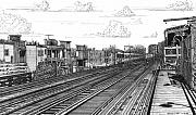 City Buildings Drawings Framed Prints - The El at Wrigley Framed Print by Bruce Kay