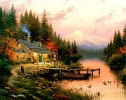Kinkade Prints - The End of a Perfect Day Print by Thomas Kinkade