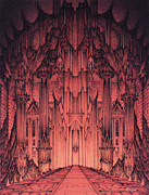 Colored Pencil Mixed Media Posters - The Gates of Barad Dur Poster by Curtiss Shaffer