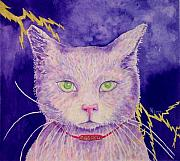 Furry Felines Painting Prints - The Ghost Print by Rhonda Leonard