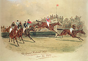 Jockeys Framed Prints - The Grand National Over the Water Framed Print by William Verner Longe
