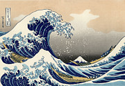 Boaters Painting Prints - The Great Wave Off Kanagawa-Reproduction Print by Roz Barron Abellera