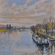 Limburg Paintings - The Kennedy Bridge Maastricht by Nop Briex