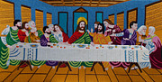 Religious Art Tapestries - Textiles Metal Prints - The Last Supper hand embroidery Metal Print by To-Tam Gerwe