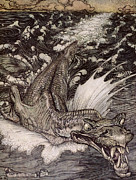 Waves Drawings Framed Prints - The Leviathan Framed Print by Arthur Rackham