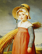 Girl Paintings - The Little Gleaner by Christophe Thomas Degeorge