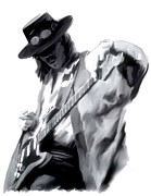 Images Drawings - The Maestro   Stevie Ray Vaughan by Iconic Images Art Gallery David Pucciarelli