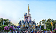 Magic Kingdom Photographs Prints - The Magic Kingdom Castle On A Beautiful Summer Day Horizontal Print by Thomas Woolworth