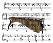 Music Score Digital Art Originals - The Marimba by Ron Davidson