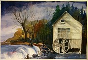 Old Mills Paintings - The Mill by Gerald Miraldi