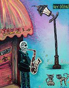 Streetlight Painting Prints - The New Orleans Skeleton Club Print by Laura Barbosa