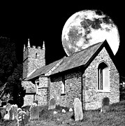 Headstones Digital Art Prints - The old church and moon HDR Print by Anthony Hedger