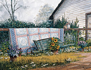 Wild Flowers Paintings - The Old Quilt by Michael Humphries