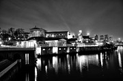 Schuylkill River Prints - The Philadelphia Waterworks in Black and White Print by Bill Cannon
